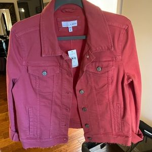 Loft coral/pink jean jacket size M NWT